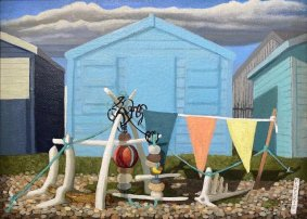 Construction in front of the Turquoise Hut, 2020, oil on canvas, 28x36cm inc. frame - £400