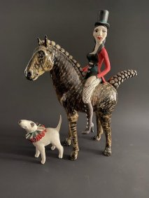 Ring Mistress on Stripey Horse & Dog - £990 NOW SOLD