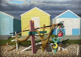 Construction in front of the Yellow Hut, 2020, oil on canvas, 28x36cm inc. frame - £400