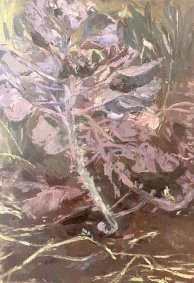 Purple Sprouts, oil on wood, 15x21cm no frame - £180