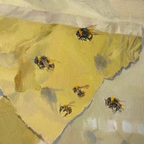 Telling Bees, 390-394, 2020 oil on board, 21.5x21.5cm inc. frame - £480