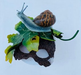Snail on Acanthus Leaf Masquerade Mask, mixed media - £345