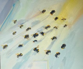 Bumble Bee, 313-335, oil on board, 38.5x45cm inc. frame - £1400