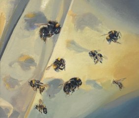 Bumble Bee, 246-253, oil on board, 20x23.5cm inc. frame - £800