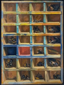 Hive or Safe, 2019-20, oil on board, 21.5x28cm inc. frame - £900